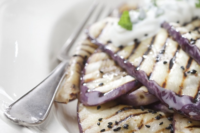 Plate with grilled aubergine