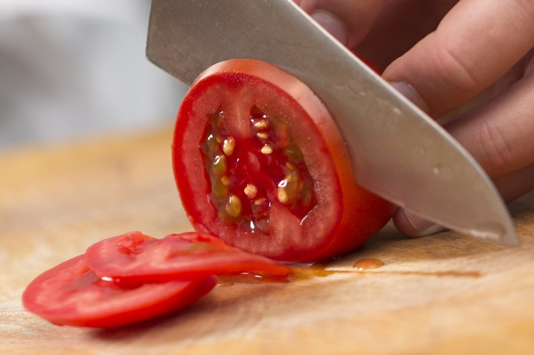 Cutting an Internal Red tomato